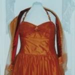 Orange Taffeta Evening Dress